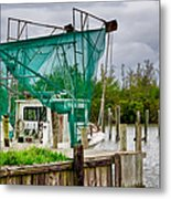 Fishing Boat And Pelicans On Posts Metal Print