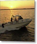 Fishing Boat Coming In At Sunset Metal Print