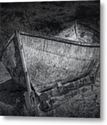 Fishing Boat On Shore In Black And White Metal Print