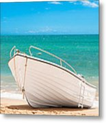 Fishing Boat On The Beach Algarve Portugal Metal Print