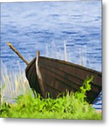Fishing Boat On The Volga Metal Print
