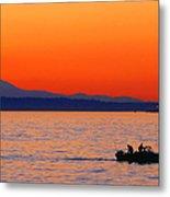 Fishermen At Sunset Puget Sound Washington Metal Print