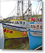 Fishing Boat Reflection In Branch-newfoundland-canada Metal Print