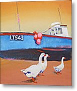 Fishing Boat Walberswick With Geese Metal Print