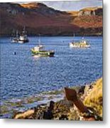 Fishing Boats At Anchor In A Quiet Bay On The Isle Of Skye In Sc Metal Print