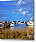 Fishing Boats At Dock Ocracoke Island Metal Print