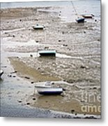 Fishing Boats At Low Tide Metal Print