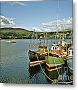 Fishing Boats At Uig Skye Scotland 1994 Metal Print by David Davies