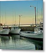 Fishing Boats In A Harbor Towards Evening On Prince Edward Island Metal Print