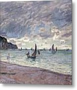 Fishing Boats In Front Of The Beach And Cliffs Of Pourville Metal Print