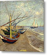Fishing Boats On The Beach At Les Sainte-maries-de-la-mer Metal Print