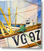 Fishing Boats Watercolor Metal Print