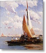 Fishing Craft With The Rivere Degli Schiavoni Venice Metal Print