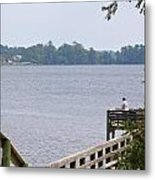Fishing From The Pier Metal Print