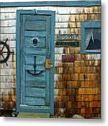 Fishing Hut At Rockport Maritime Metal Print