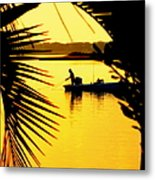 Fishing In Gold Metal Print by Karen Wiles