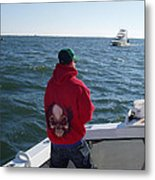 Fishing In Rough Seas Metal Print