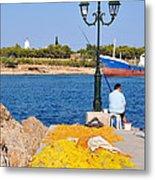 Fishing In Spetses Town Metal Print