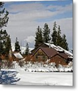 Fishing Lodge In The Winter Metal Print