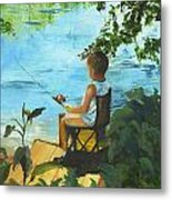 Fishing Off The Dock Metal Print