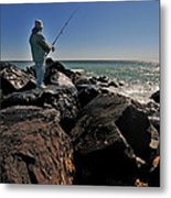 Fishing Off The Jetty Metal Print