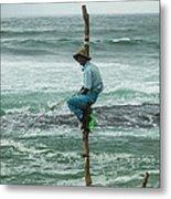 Fishing On A Pole Metal Print