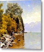 Fishing On Lac Leman Metal Print