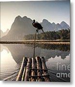 Fishing On Li River Metal Print