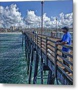 Fishing On Oceanside Pier Metal Print