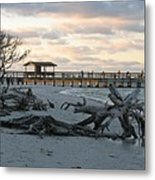 Fishing Pier And Driftwood Metal Print