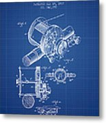 Fishing Reel Patent From 1907 - Blueprint Metal Print
