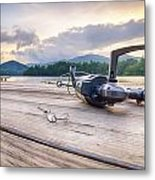 Fishing Tackle On A Wooden Float With Mountain Background In Nc Metal Print