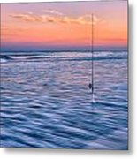 Fishing The Sunset Surf - Square Version Metal Print