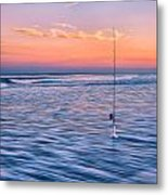 Fishing The Sunset Surf - Vertical Version Metal Print