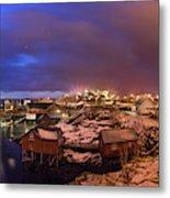 Fishing Village At Night, Lofoten Metal Print