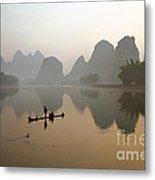 Fishing With Cormorant On Li River Metal Print
