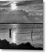 Fishing With Dad - Black And White - Merritt Island Metal Print