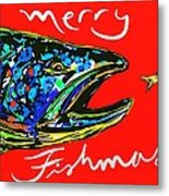 Fishmas Trout Metal Print