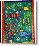 Fishy Christmas, 1997 Wc And Pastel On Paper Metal Print