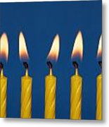 Five Candles Burning Metal Print