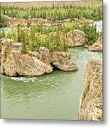 Five Finger Rapids Rocks Yukon River Yt Canada Metal Print