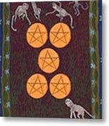 Five Of Pentacles Metal Print