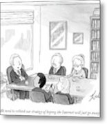 Five People Sit Around A Conference Table Metal Print