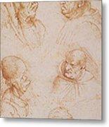 Five Studies Of Grotesque Faces Metal Print by Leonardo da Vinci