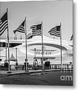 Five Us Flags Flying Proudly In Front Of The Megayacht Seafair - Miami - Florida - Black And White Metal Print by Ian Monk