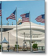Five Us Flags Flying Proudly In Front Of The Megayacht Seafair - Miami - Florida - Panoramic Metal Print