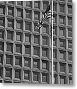 Flag And Windows In Black And White Metal Print
