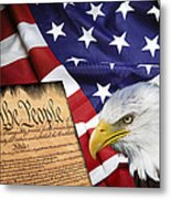 Flag Constitution Eagle Metal Print by Daniel Hagerman