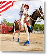 Flag Lady Metal Print