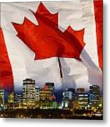 Flag Of Canada Over Albertas Capital Metal Print